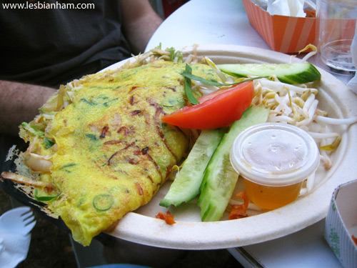 His stuffed omelette from a random Thai stall.